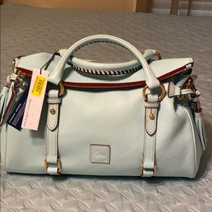 Dooney Bourke large light aqua W/brown stitching